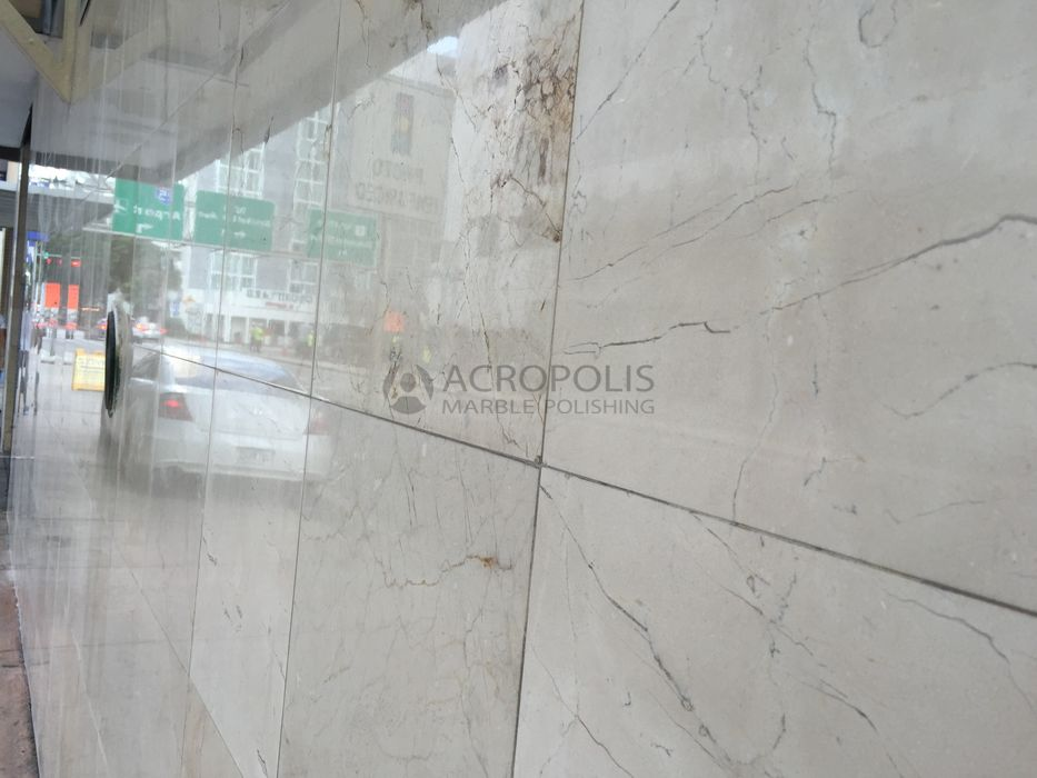 Marble Exterior Wall After Acropolis Marble Polishing Miami